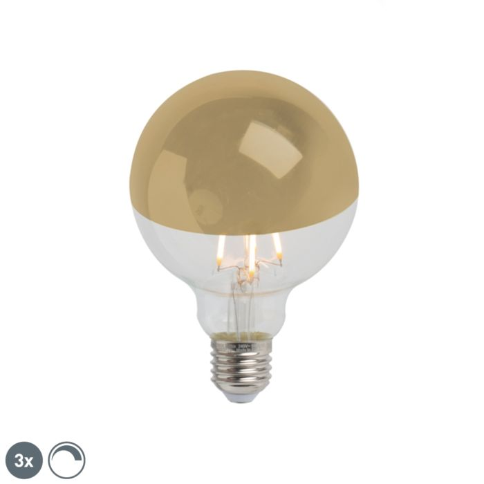 3er-Set-E27-dimmbare-LED-Filamentlampe-verspiegelt-G95-gold-280lm-2300K