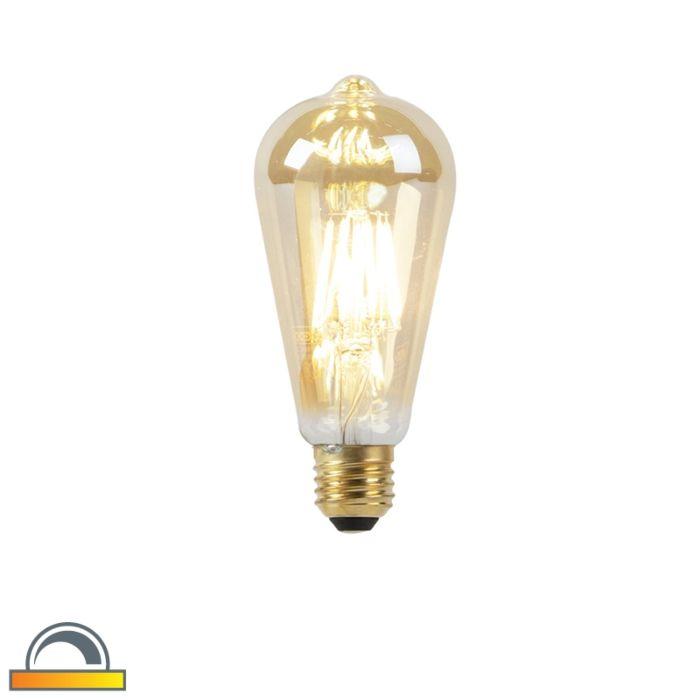 LED-Lampe-E27-ST64-8W-2000-2600K-mit-gedimmtem-bis-warmem-Goldfaden