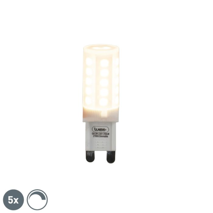Set-mit-5-dimmbaren-G9-LED-Lampen-3W-280-lm-2700K