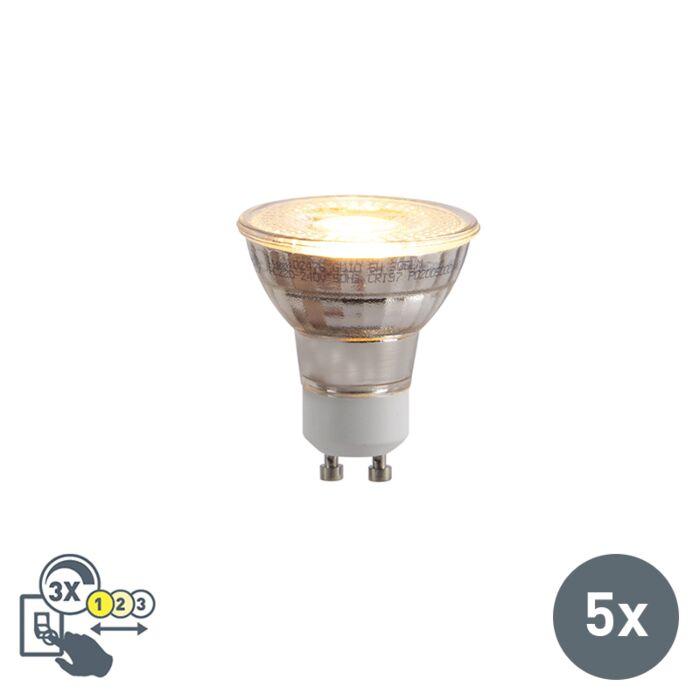Set-mit-5-GU10-LED-Lampen-3-stufig-dimmbar-in-Kelvin-5W