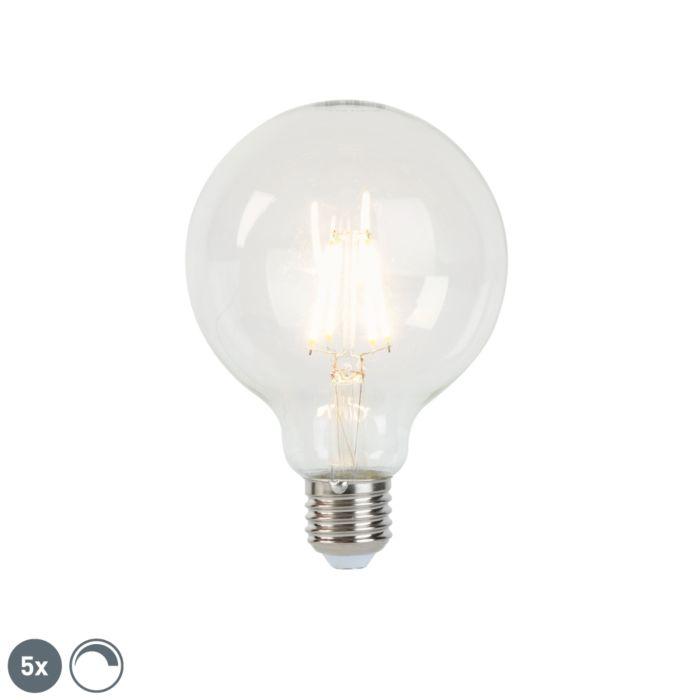 Set-mit-5-dimmbaren-LED-Lampen-E27-G95-5W-470-lm-2700K