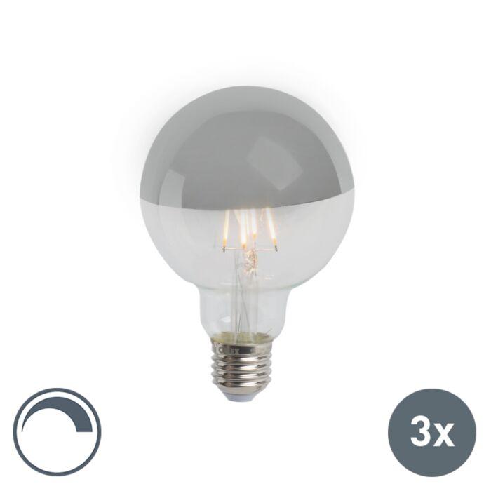 3er-Set-E27-dimmbarer-LED-Filamentlampe-verspiegelt-G95-silber-280lm-2300K