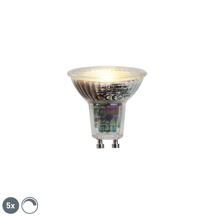 5er-Set-GU10-LED-Lampe-6W-450lumen-2700K-dimmbar