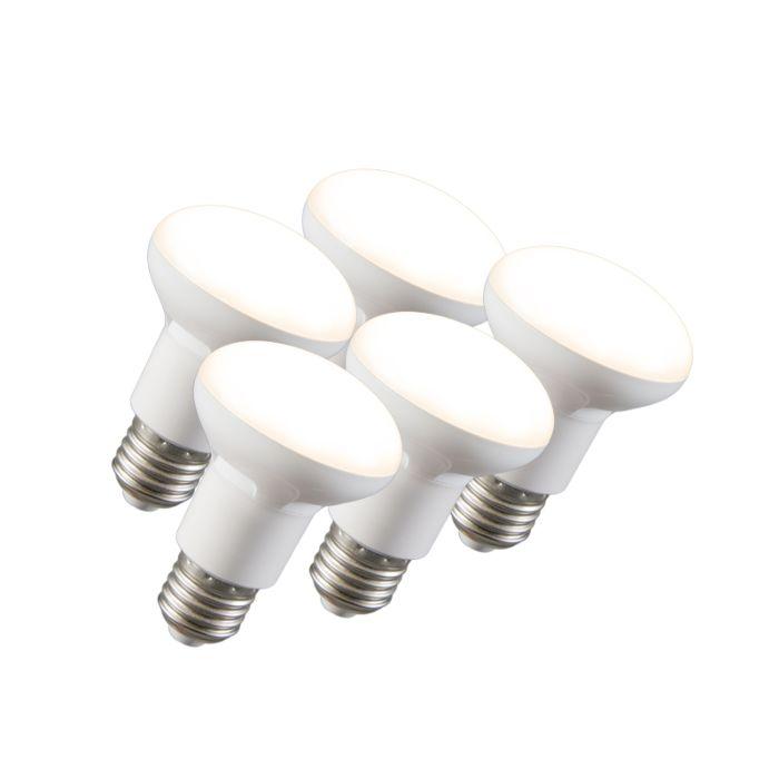 5er-Set-LED-Reflektorlampe-R63-E27-240V-8W-2700K-dimmbar