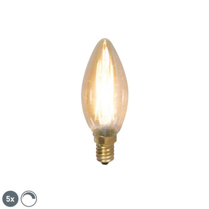 Set-aus-5-dimmbaren-LED-Leuchtmitteln-E14-mit-200-Gläsern-200lm-2100-K.