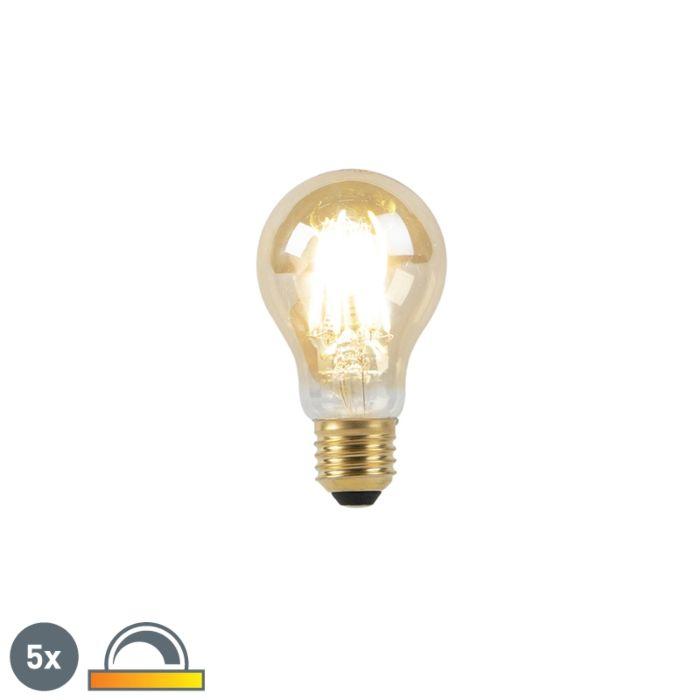 5er-Set-E27-LED-Lampe-8W-2000-2600K-dimmbar-Goldfäden