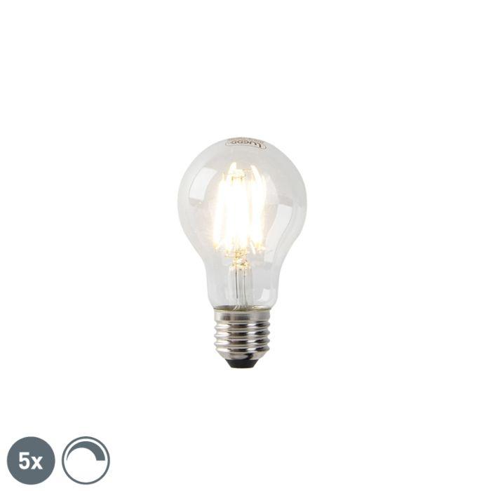 5er-Set-dimmbare-E27-LED-Lampen-Klarglas-7W-806-lm-2700K