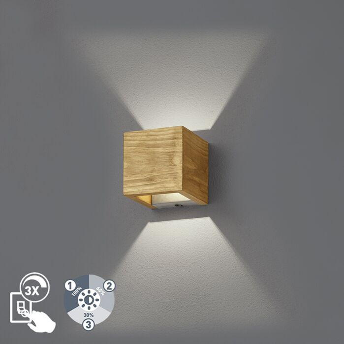 Land-Wandleuchte-Holz-11-cm-inkl.-LED-dimmbar---Linc