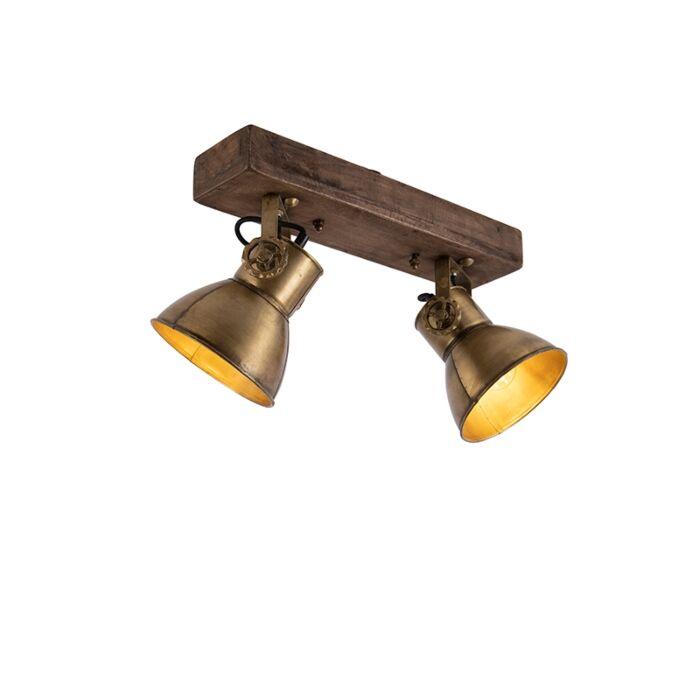 Deckenleuchte-Bronze-2-Lichter-mit-Holz---Mangos