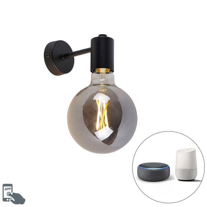 Smart-Wandleuchte-schwarz-inkl.-WiFi-G125-Rauchglas---Facil-1