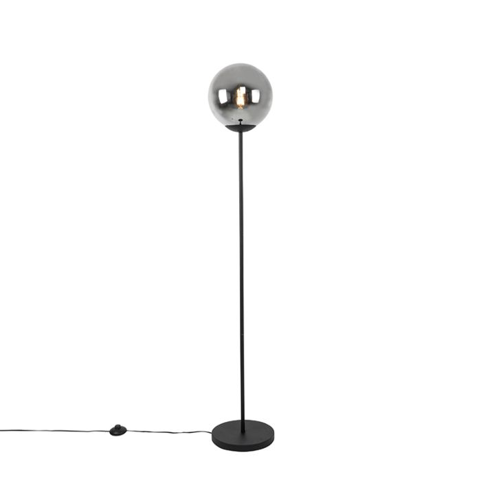 Art-deco-vloerlamp-zwart-met-smoke-glas---Pallon-Mezzi