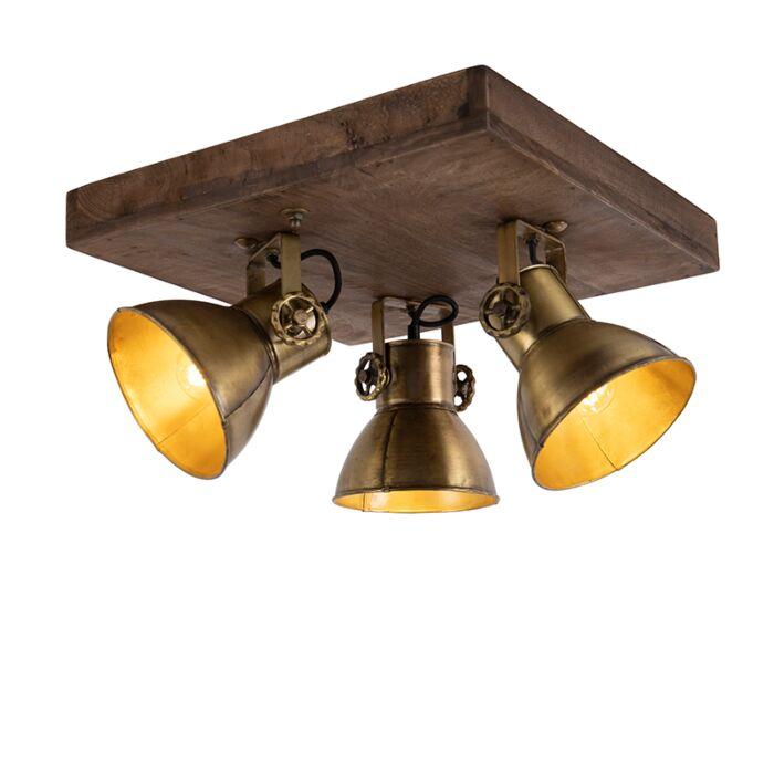 Deckenleuchte-Bronze-mit-Holz-3-Lichter---Mangos