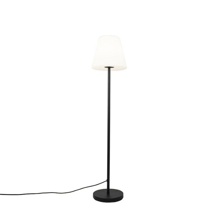 Außen-Stehlampe-schwarz-mit-weißem-Schirm-35-cm-IP65---Virginia