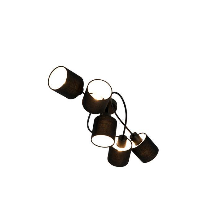 Moderne-Deckenleuchte-schwarz-5-Licht---Hetta