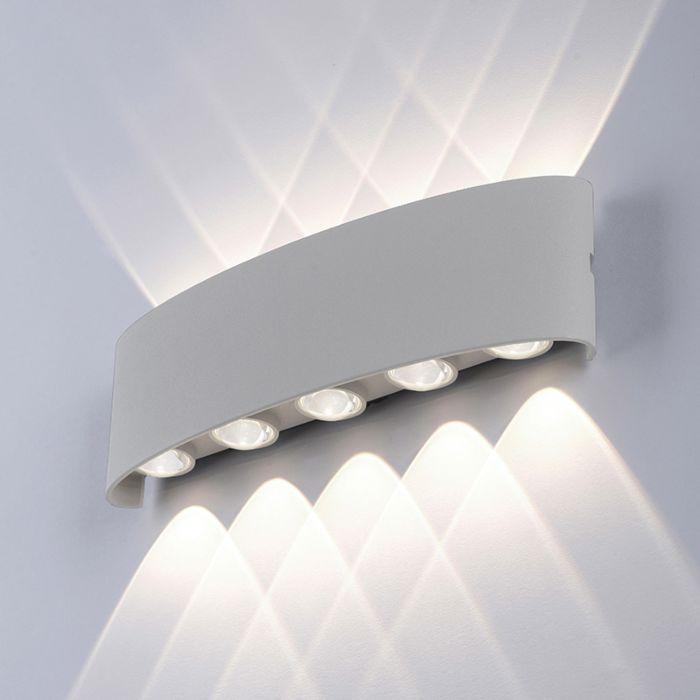 Moderne-Wandleuchte-grau-27-cm-inkl.-LED-IP54---Wendy