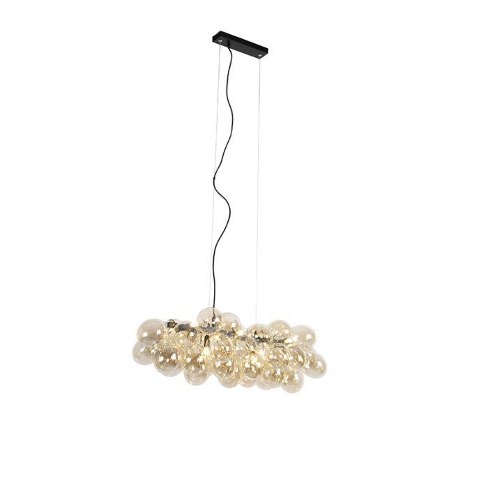 Design-Hängelampe-schwarz-mit-Braunglas-8-Lampen---Uvas