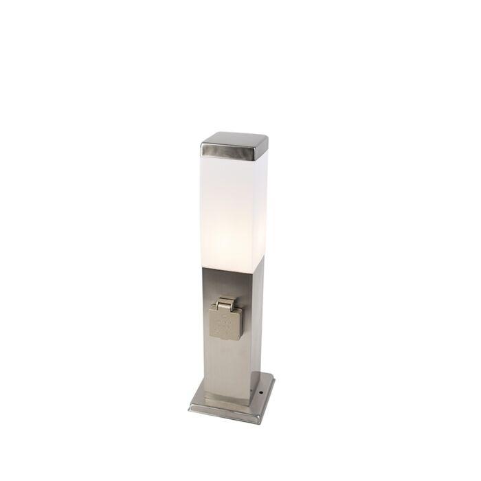 Moderne-Außenleuchte-45-cm-Stahl-mit-Sockel-IP44---Malios