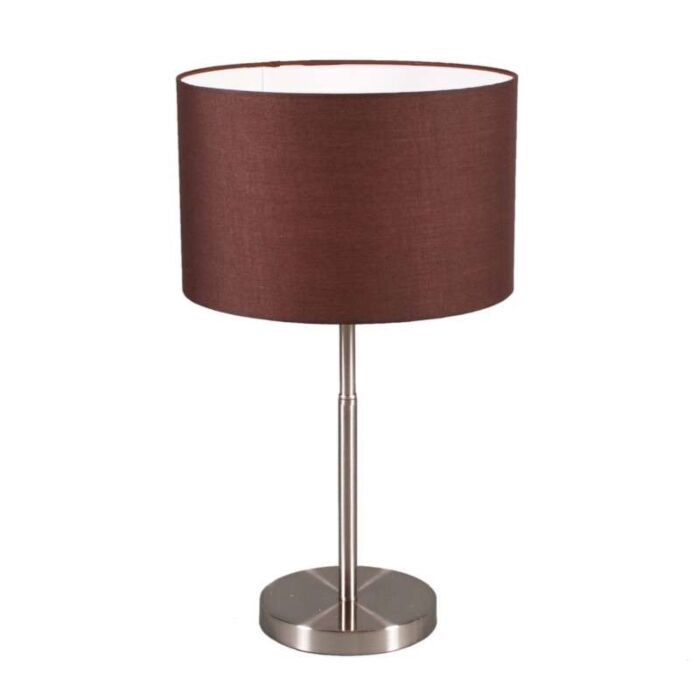 Tischleuchte-Drum-Steel-mit-Schirm-braun