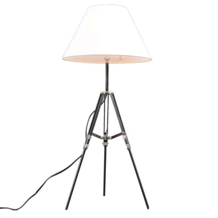Stativtischlampe-schwarz-mit-weißem-Schirm