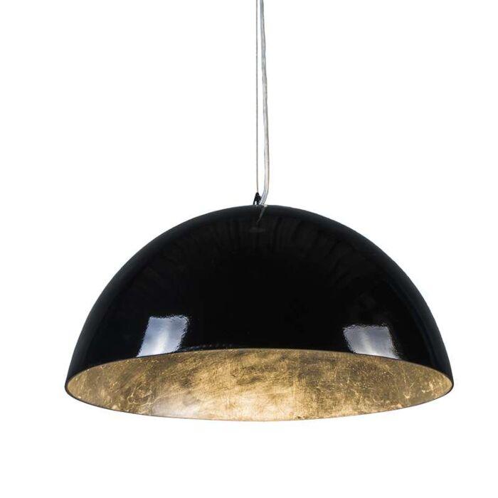 Magna-Glossy-Hängelampe-55cm-schwarz-mit-silber
