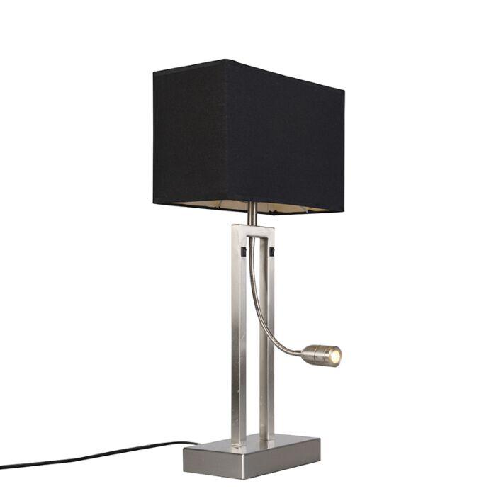 Bergamo-Stahltischlampe-mit-Schirm-in-Schwarz