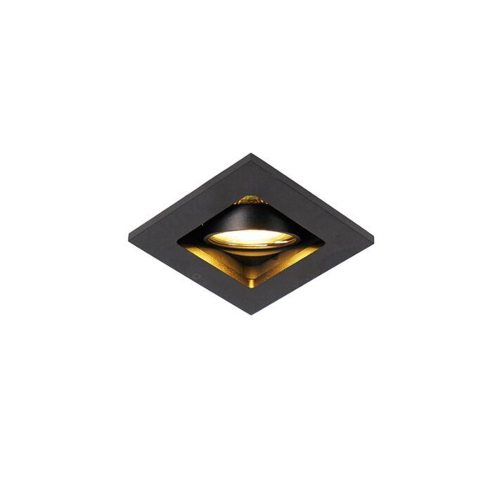Moderner-Einbauspot-schwarz-verstellbar---Qure