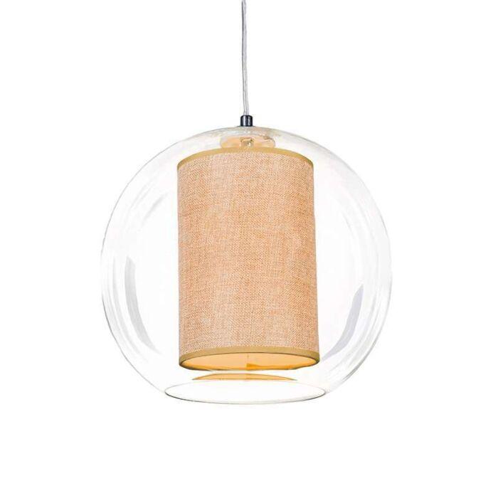 Hängelampe-Globe-30-mit-Schirm-beige