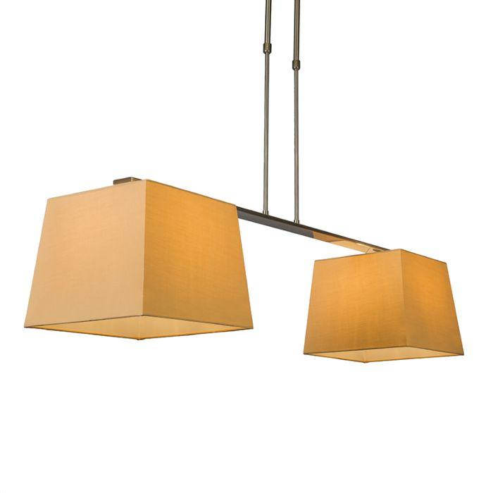 Hängelampe-Combi-Delux-2-Schirm-eckig-30cm-beige