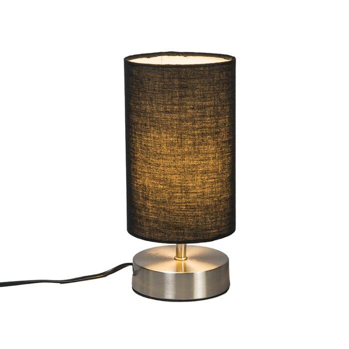 Moderne-Tischlampe-schwarz-mit-Stahl---Milo-2