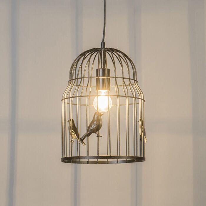 Art-Deco-Hängeleuchte-Rost---Birdcage