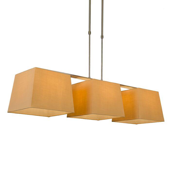 Pendelleuchte-Combi-Delux-3-Schirm-quadratisch-30cm-beige