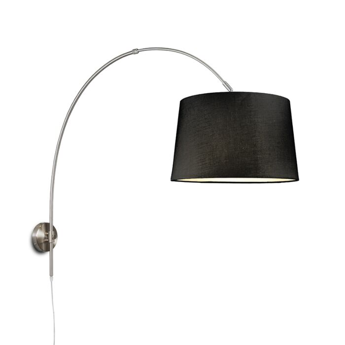 Wandbogenlampe-Stahl-mit-Schirm-40-cm-schwarz