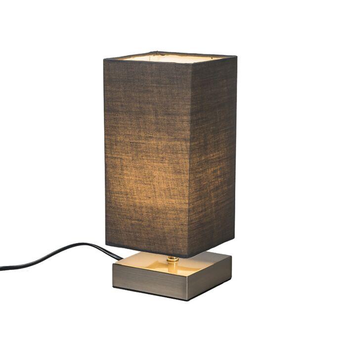 Moderne-Tischlampe-grau-mit-Stahl---Milo