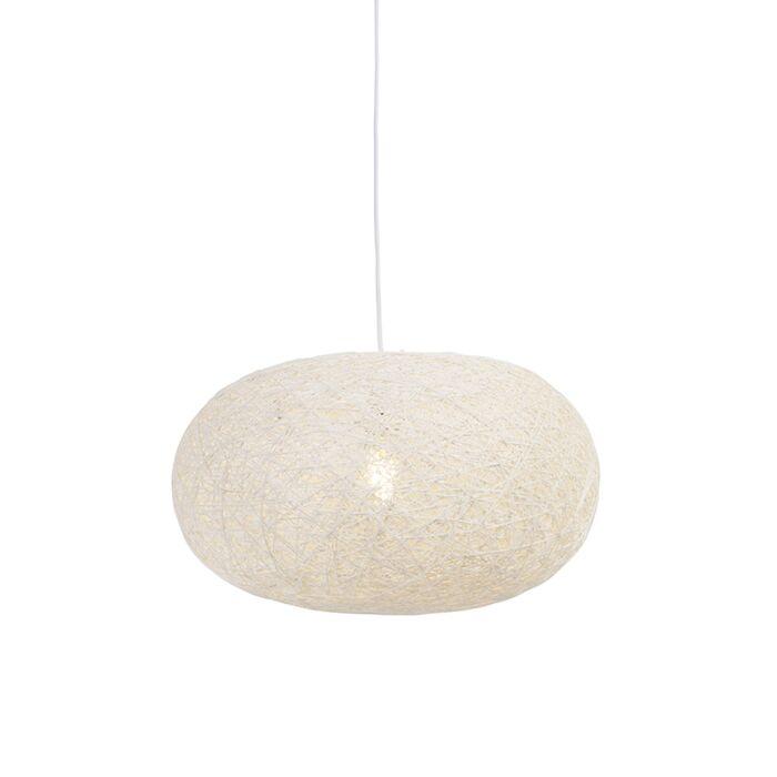 Ländliche-Hängelampe-weiß-50-cm---Corda-Flat