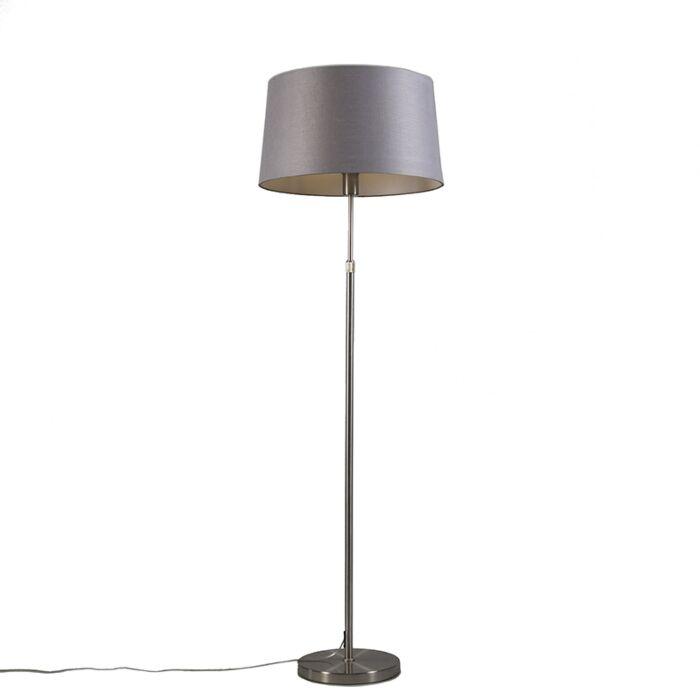 Stehleuchte-Stahl-mit-Lampenschirm-grau-45-cm-verstellbar---Parte
