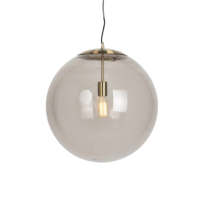Moderne-Hängelampe-Messing-mit-Rauchglas-50-cm---Ball