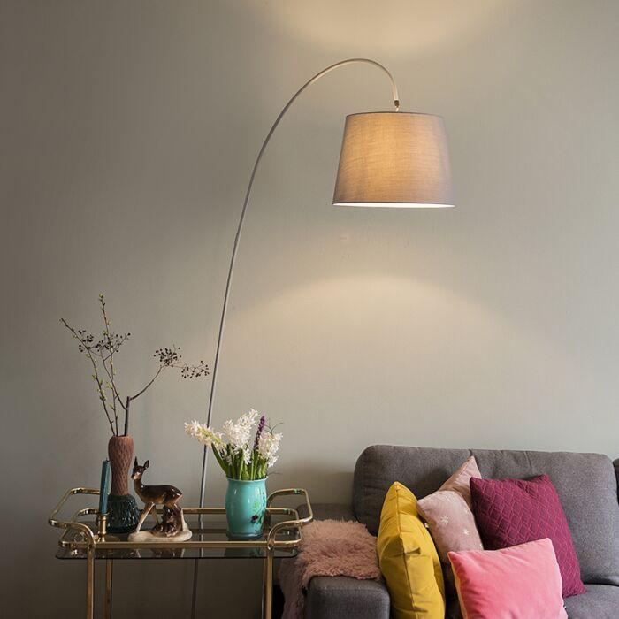 Moderne-Bogenlampe-mit-grauem-Schirm---Bend
