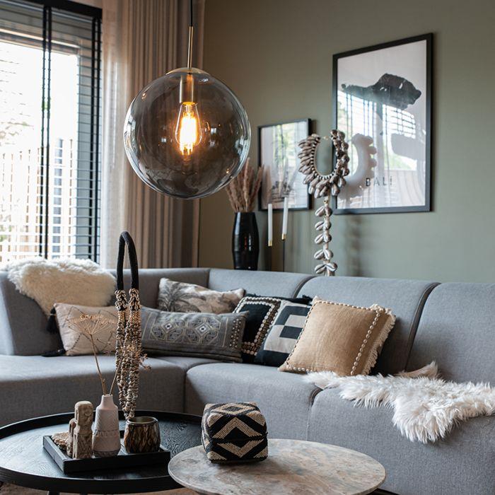 Moderne-Hängelampe-Messing-mit-Rauchglas-30-cm---Ball