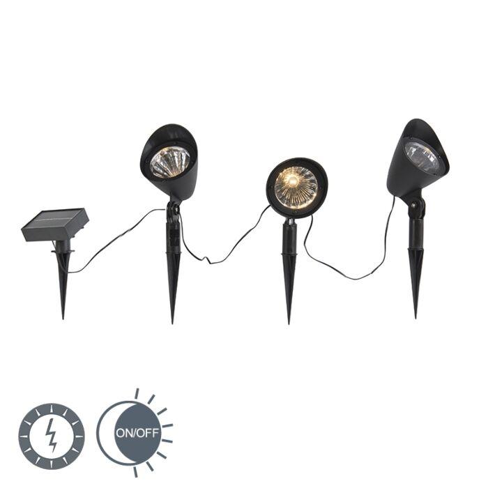 Schwarzer-Solar-Strahler-inkl.-LED-3er-Set-IP44---Sunshine