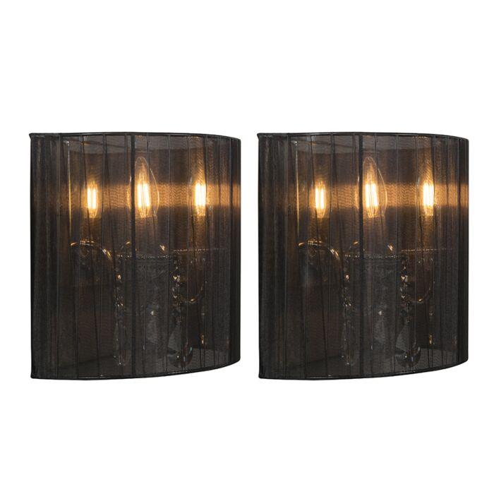 2er-Set-Chrom-Wandlampen-mit-schwarzem-Schirm---Ann-Kathrin-2