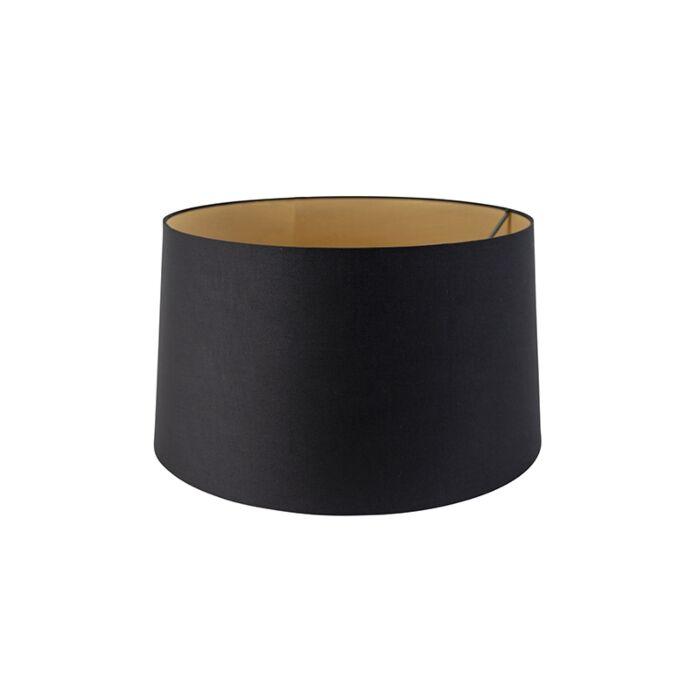 Baumwolllampenschirm-schwarz-45/50/28-mit-goldener-Innenseite