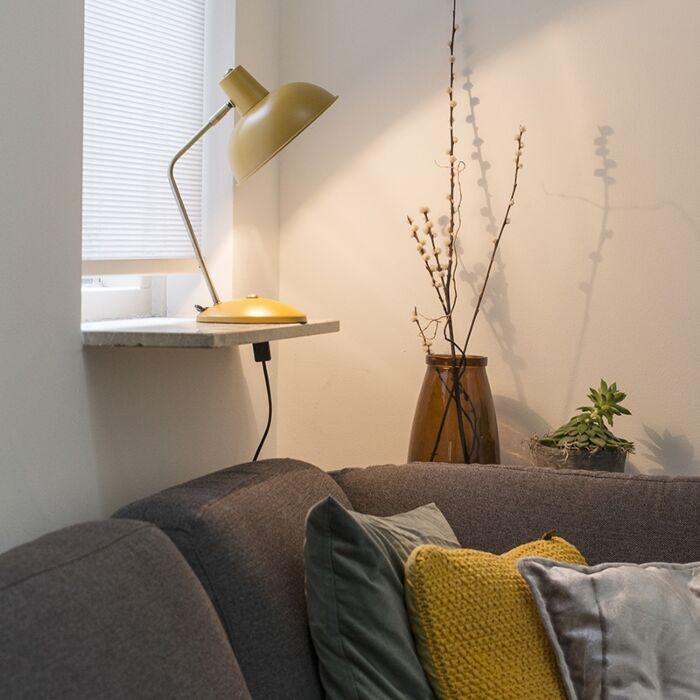 Retro-Tischlampe-gelb-mit-Bronze---Milou