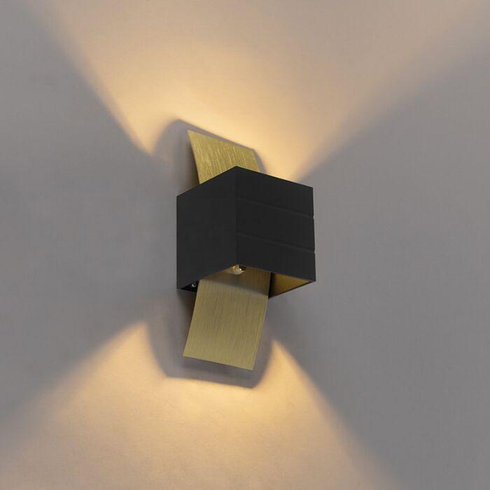 Design Wandlampe schwarz mit Gold Amy