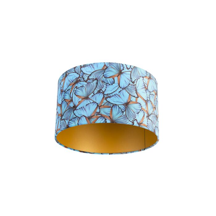 Velour-Lampenschirm-Schmetterling-Design-35/35/20-goldene-Innenseite