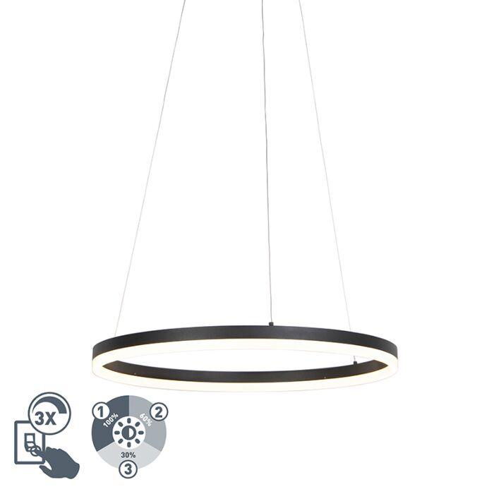 Design-Ring-Hängelampe-schwarz-60cm-inkl.-LED-und-Dimmer---Anello