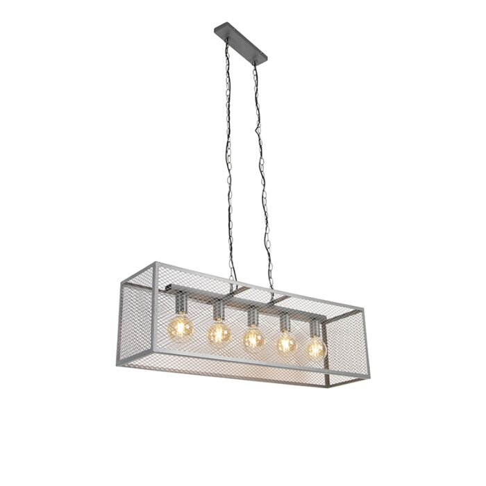 Industrielle-Hängelampe-Antik-Silber-5-Licht---Cage-Robusto