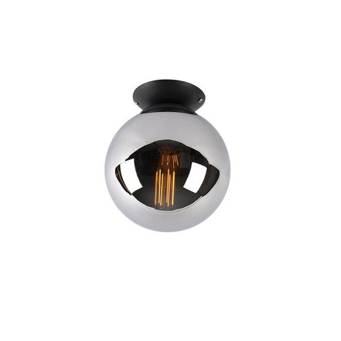 Art-Deco-Deckenleuchte-schwarz-mit-Rauchglas---Pallon