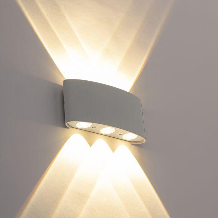 Design-Außenwandleuchte-silber-inkl.-LED-6-Leuchten---Silly