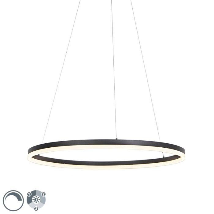 Design-Ring-Hängelampe-schwarz-80cm-inkl.-LED-und-Dimmer---Anello