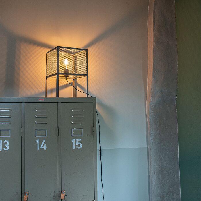 Industrielle-Tischlampe-Antik-Silber---Cage-Robusto